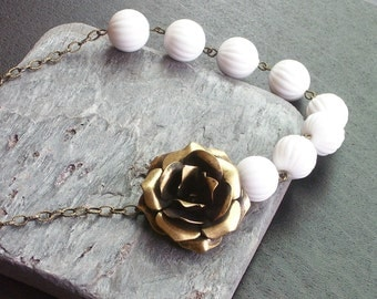 White beaded necklace, antique brass rose necklace, tea rose necklace, vintage beaded necklace, white necklace, asymmetric necklace