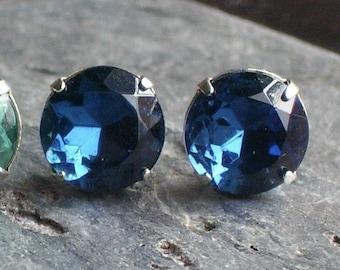 Navy blue stud earrings, glass posts, something blue, dark blue earrings, something blue, estate style earrings, gift ideas for her