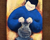 RESERVED for FERN Painting, 8x10 Original Acrylic and Papier Mache Mixed Media Relief on Canvas: Muse No. 3 Potter Man WAS 59.00