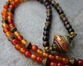 Necklace: Beaded with Handmade Paper Bead Pendant, Baroque Beat