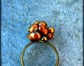 Copper Pearl Wired Cluster Adjustable Ring: Toffee Crunch WAS 8.00