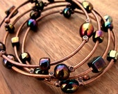 Memory Wire Bracelet: Beaded Adjustable Copper Wrap Bangle, Telephone Line