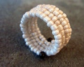 Adjustable Soft White Beaded Memory Wire Wrap Ring: Heirloom