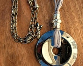 Necklace: Hematite Donut Pendant Silk Cord and Chain, Zenith