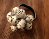 Adjustable Bronze Ring with Wired Handmade Paper Beads: Script