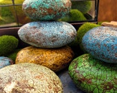 Paper Mache Decorative Accent Stones: Rustic Crackled Set of Seven in Blues Greens Yellow
