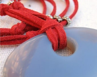 Necklace: Gray Agate Pendant on Red Cord, Spice Route