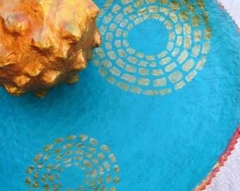 Paper Mache Bowl: Handmade Turquoise Blue Papier Mache Pedestal, Sun Spots
