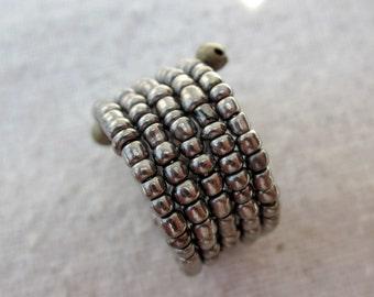 Memory Wire Ring: Beaded Adjustable Dark Silver Ring, Pixel