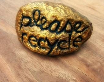Paper Mache Rock: Papier Mache with Words Sculpture, PLEASE RECYCLE