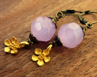 Earrings, Faceted Pink Glass Dangles with Flower Charm: New Bloom