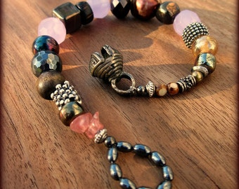 Bracelet: Beaded with Bell Clasp, Heath