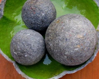Paper Mache Accent Balls Set of Three Decorative Faux Stone Papier Mache Spheres in Mottled Gray MADE to ORDER