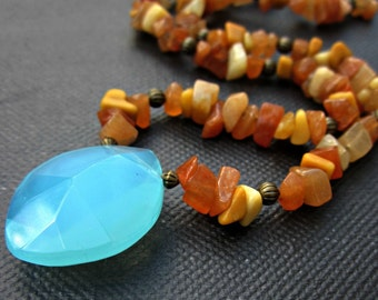 Beaded Stone and Glass Necklace in Pool Blue and Soft Orange Adjustable Color: Painted Desert WAS 17.00