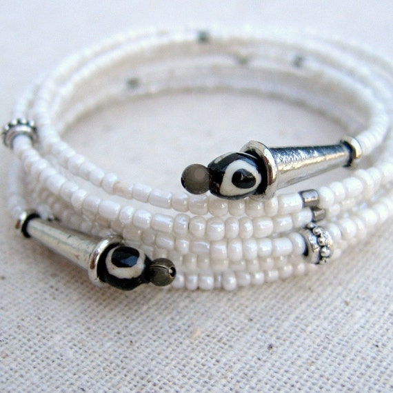 Memory Wire Bracelet: Adjustable White Beaded Memory Wire Cuff, Serif