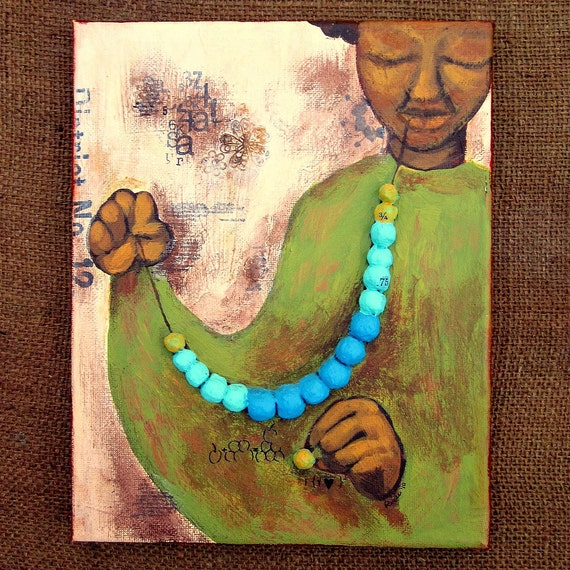 Woman Beading Painting, 8x10 Original Acrylic and Papier Mache Mixed Media Relief on Canvas: Muse No.1