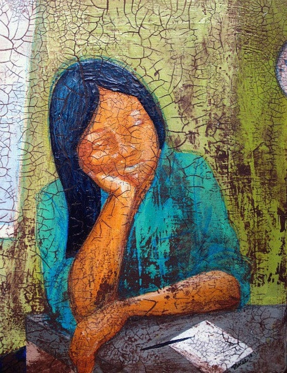 Sleepy Woman Painting, Original Acrylic Recycled Art on Salvaged Wood: The List