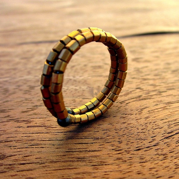 Memory Wire Ring: Beaded Adjustable Gold Ring, Cracker Jack