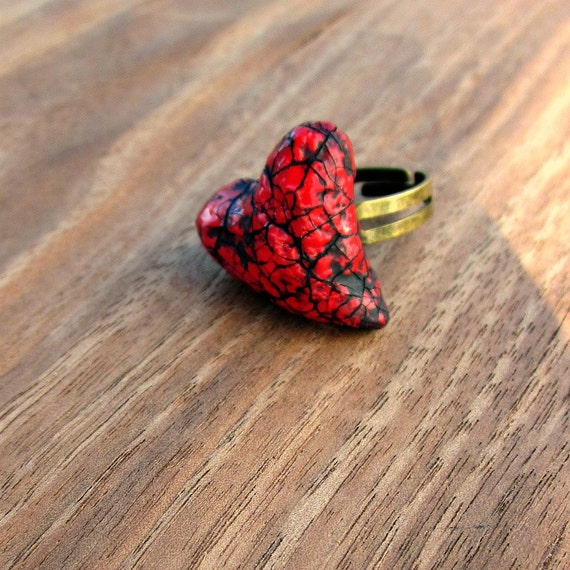 Ring: Red Paper Mache Heart Adjustable Ring, Punch Drunk Ring
