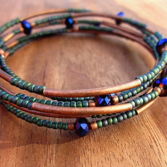 Memory Wire Bracelet: Beaded Adjustable Teal and Copper Wrap Bangle, Peacock