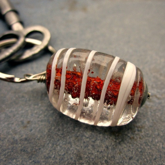 Silver Keyring or Purse Charm with Big Glass Bead: Toffee Swirl
