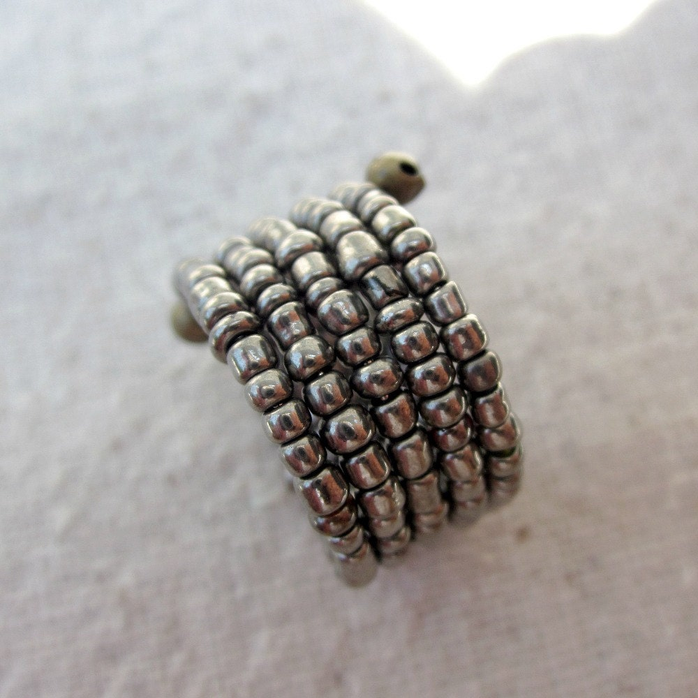 beaded style inked silver rings diy bead ring
