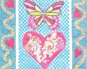 Valentine HEART AND BUTTERFLY MOSAIC ACEO AND MOSAIC  BORDER BY THEODORA