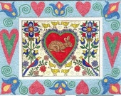 Fraktur Valentine Bunny Birds Flowers  Hearts ,Includes a Mirco Mosaic Border From Theodora
