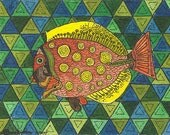 Fantasy Fish In Orange and Yellow With a Green Background  ACEO from Theodora