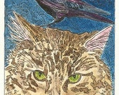 Kitty and Blackbird ACEO print from Theodora