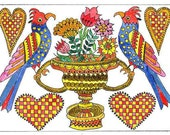 Two Birds with Urn of Flowers Fraktur ACEO by Theodora
