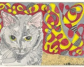 ACEO Cat Abstract by Theodora