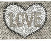 Love print in Black and Grey ACEO inspirational Word  by Theodora
