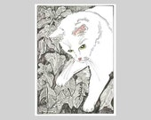 ACEO Cat Print  Out in the Leaves Fall by Theodora