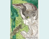 ACEO Kitty Cat Gray and White Tuxedo Grasshopper by Theodora