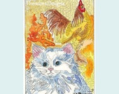 Fluffy White Kitty Visits the Barnyard ACEO print from Theodora