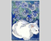 Little White Cat in the Garden ACEO by Theodora