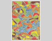 Undulating Color Shapes Abstract Modern ACEO by Theodora