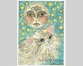 Kitty Cat  Moon  Stars ACEO Original Signed Limited Edition by Theodora