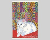 White Kitty Cat Quilt Aceo Signed Limited Edition Print by Theodora