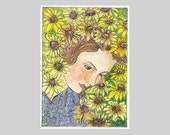 Young Woman in a Fall Garden Flowers ACEO by Theodora