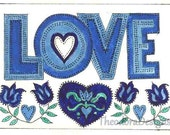 Love Sign Fraktur Blues Flowers Hearts ACEO Signed Print by Theodora