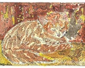 Leo Sleeping Orange Cat ACEO Signed Limited Edition Print by Theodora