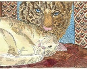 Little Cat Napping in Front of My Tiger Needlepoint Pillow ACEO from Theodora