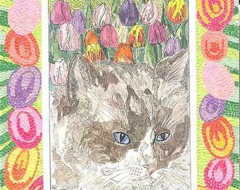PUFF PUFF RAG DOLL CAT ACEO WITH MICRO MOSAIC BORDER BY THEODORA