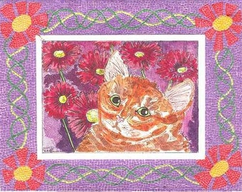Cat with Micro Mosaic Border by Theodora