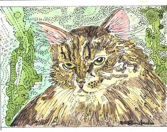 ACEO Kitty Cat Portrait Signed Limited Edition Print by Theodora