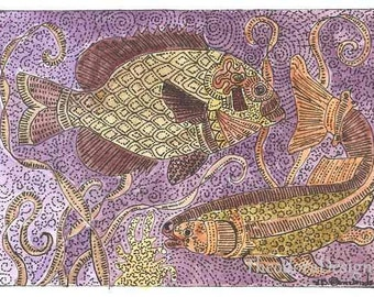 ACEO  Purple  Fish  Print by Theodora