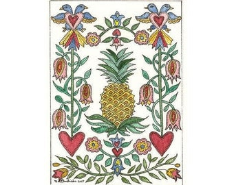 Pineapple Fraktur Aceo with Hearts,Flower,and Birds by Theodora Signed Limited Edition