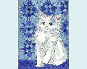 Little White Cat  Kitty and the Blue Quilt New ACEO from Theodora